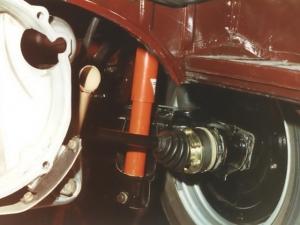 Bremstrommel vom 356 an der Hinterachse, kombiniert mit der Schräglenkerhinterachse und 901 Getriebe