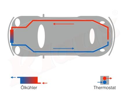 Verlegung Ölleitung (rot = warmes öl, blau = kaltes Öl)